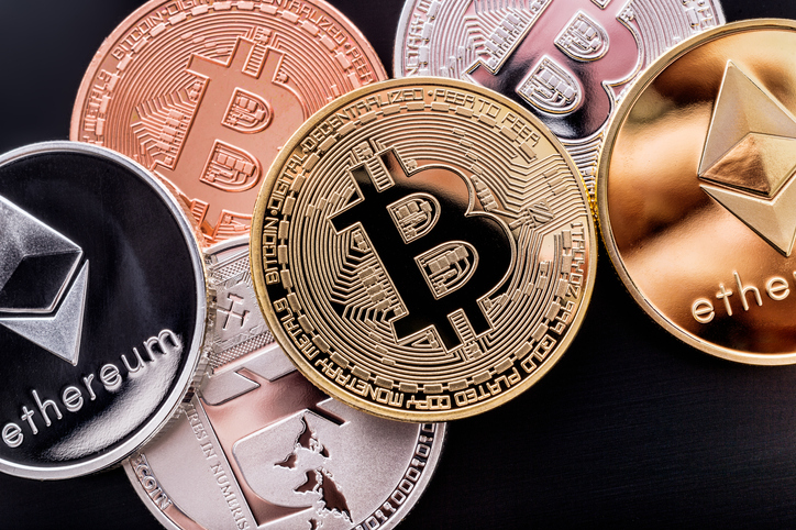 Stacked cryptocurrency coins