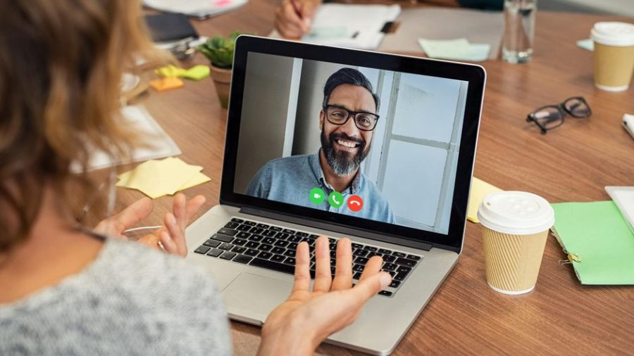 A woman video chat in laptop